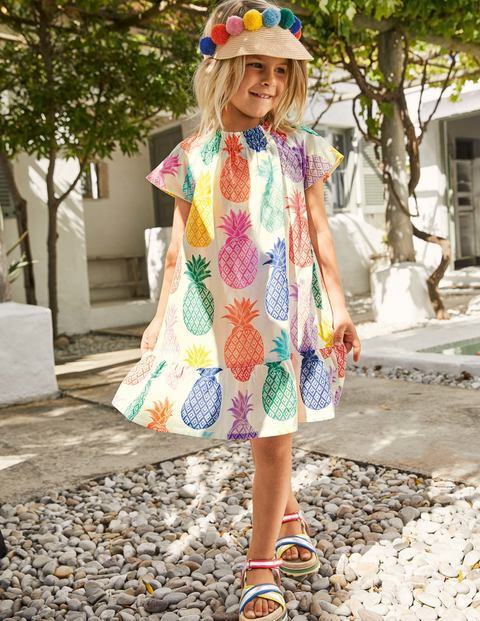 Smocked Printed Kaftan