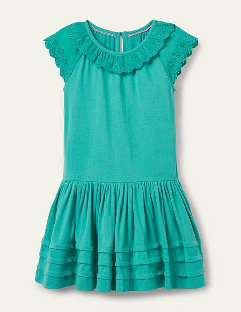Broderie Detail Jersey Dress - Dark Turquoise Green