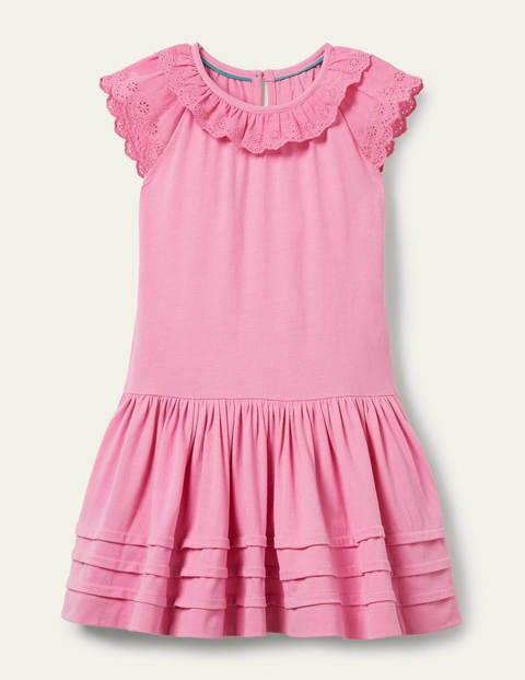 Broderie Detail Jersey Dress - Plum Blossom Pink
