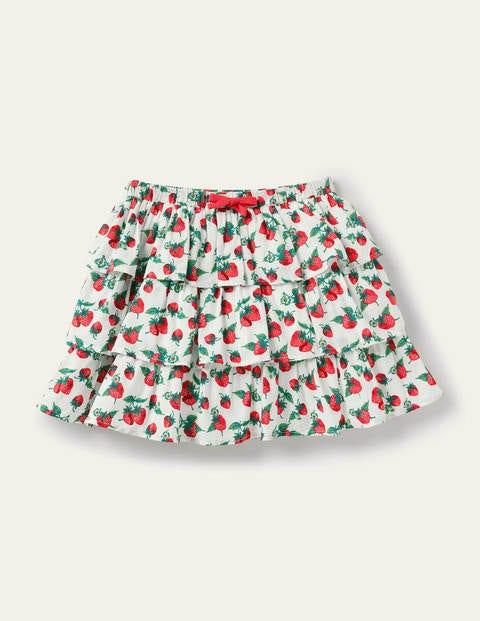 Printed Ruffle Skirt - Ivory Strawberry Patch
