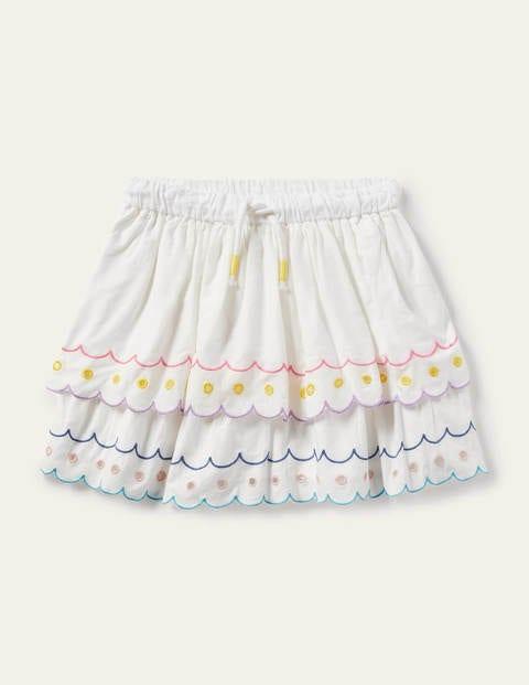 Rainbow Broderie Skirt - Ivory
