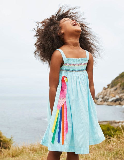 Fun Appliqué Sun Dress - Aqua Blue Ticking Parrot