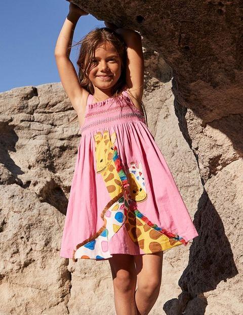 Fun Appliqué Sun Dress - Plum Blossom Pink Giraffe