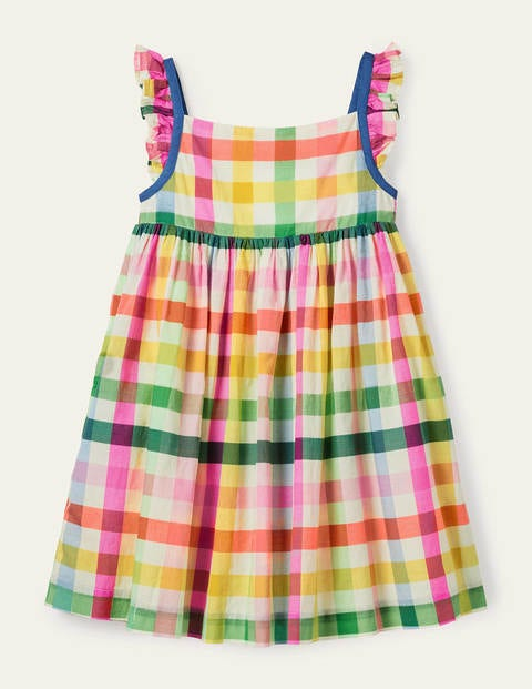 Frill Strap Dress - Multi Rainbow Gingham