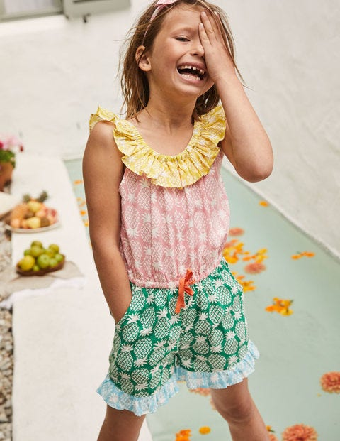 Frill Neck Romper - Multi Hotchpotch Pineapple Geo