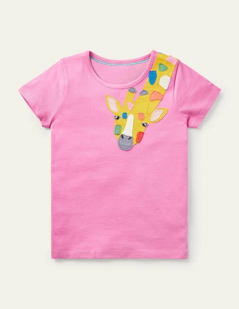 Appliqué Front & Back T-shirt - Plum Blossom Pink Giraffe