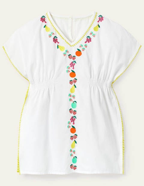 Fruit Embroidered Kaftan - White