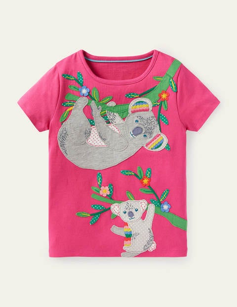 Safari Appliqué T-shirt - Party Pink Koala