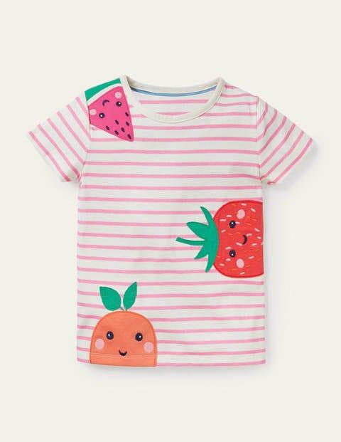 Stripy Appliqué T-shirt - Ivory/ Pink Lemonade Fruits