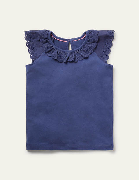Broderie Detail Jersey Top - Starboard Blue