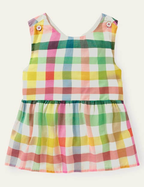 Cross-back Woven Top - Multi Rainbow Gingham