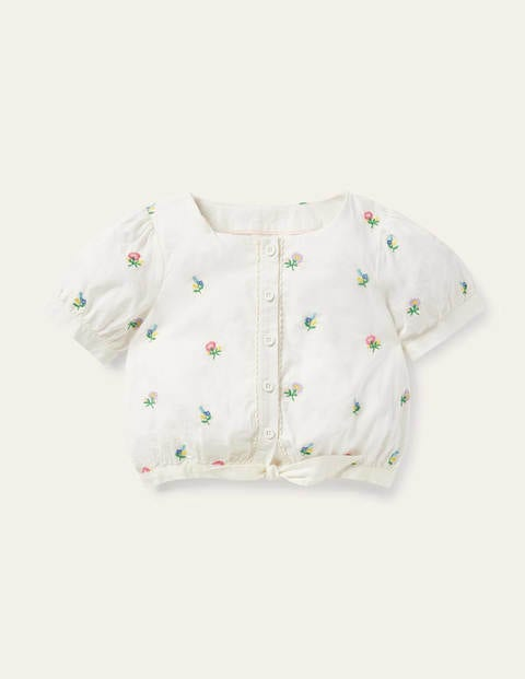 Puff Sleeve Embroidered Top - Ivory Floral