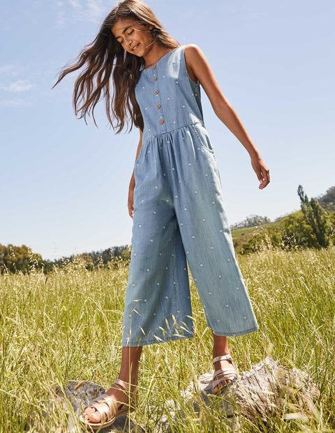 Embroidered Wide Leg Jumpsuit - Chambray Daisy Chain