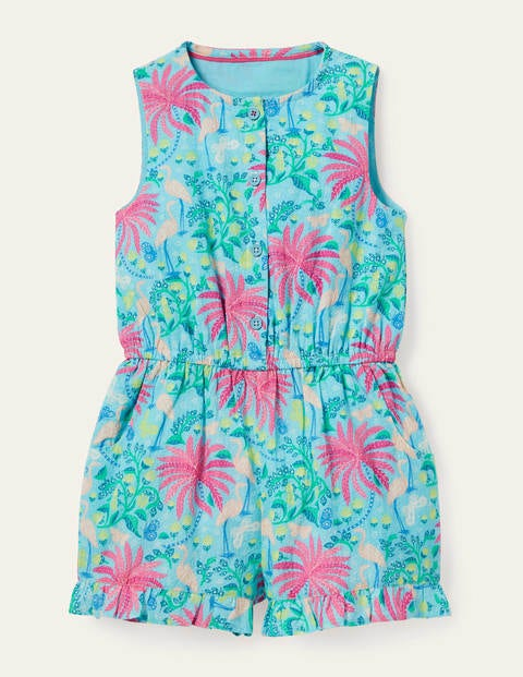 Button-through Woven Romper