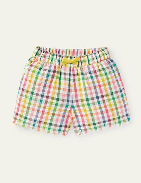 Scallop Detailed Shorts - Multi Rainbow Gingham