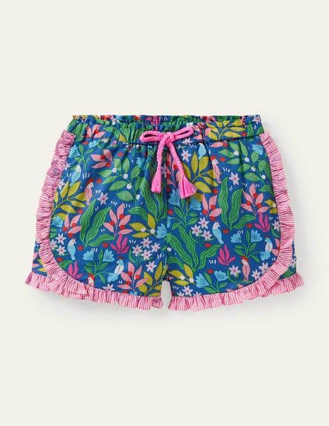 Hotchpotch Frill Shorts - Venice Blue Tropical Garden