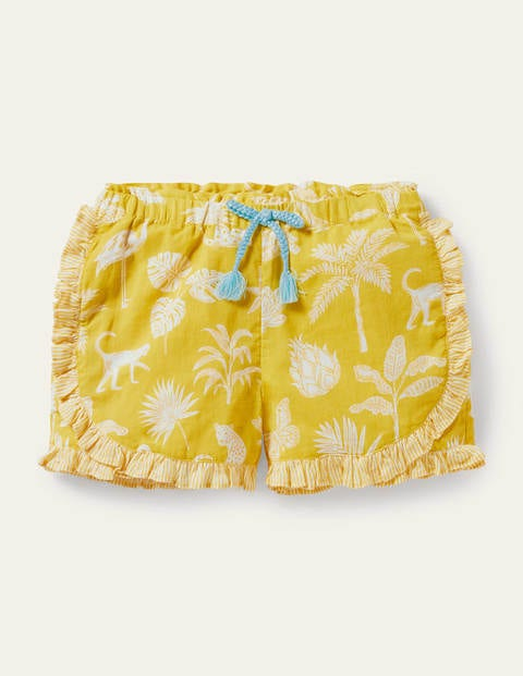 Hotchpotch Frill Shorts - Sweetcorn Yellow Botanical