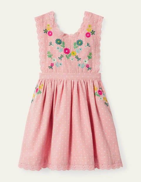 Embroidered Pinafore Dress - Boto Pink Pin Spot
