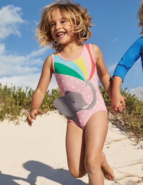 Fun Appliqué Swimsuit - Pink Spot Elephant Rainbow