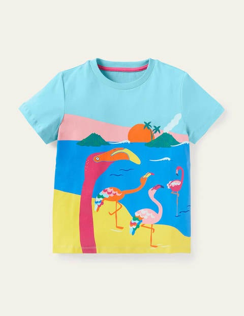 Scene T-shirt - Georgian Blue Flamingo