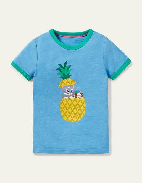 Fun Printed T-shirt - Surfboard Blue Pineapple Cat
