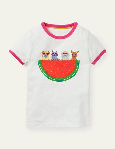 Fun Printed T-shirt - Ivory Watermelon Dogs