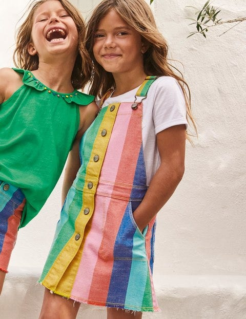 Button Through Overall Dress - Multi Rainbow Stripe