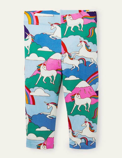 Fun Cropped Leggings - Multi Unicorn Mountain