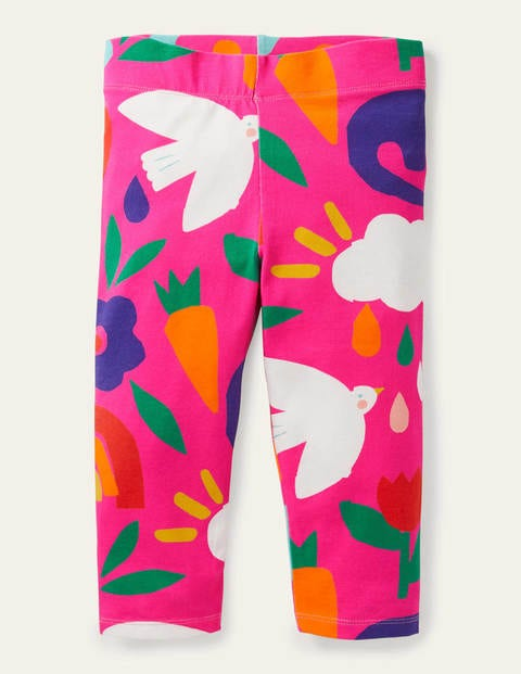 Fun Cropped Leggings - Tickled Pink Happy Dino