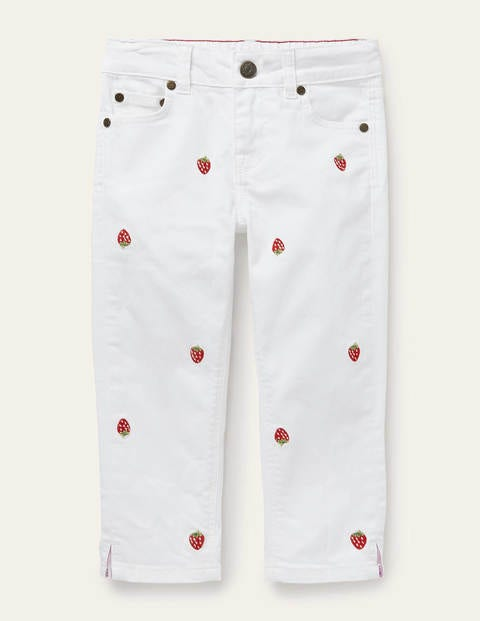 Embroidered Capri Jeans - White Embroidered Strawberry