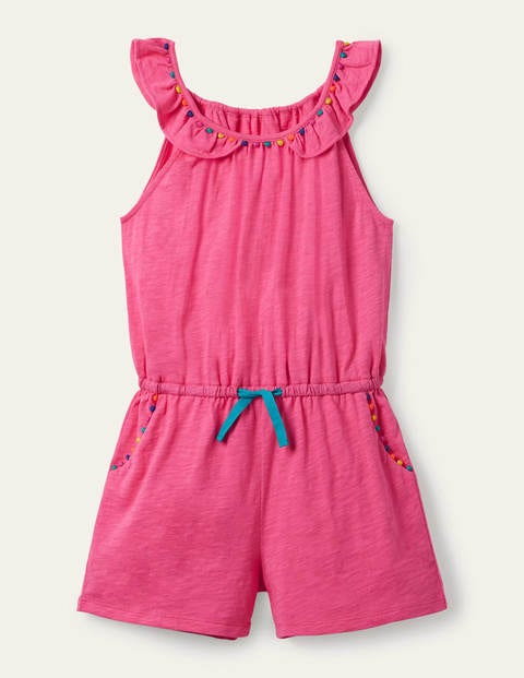 Charlie Pom Jersey Playsuit - Bright Camellia