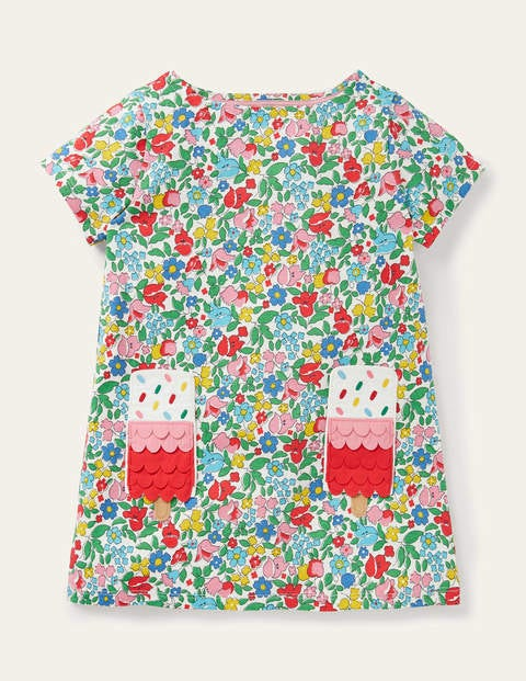 Summer Appliqué Pocket Tunic - Multi Ditsy Floral Ice Cream