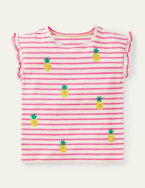Pom Ruffle Sleeve Top - Ivory/ Party Pink Pineapples