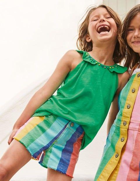 Rainbow Denim Shorts - Multi Rainbow Stripe