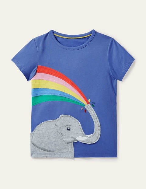 Rainbow Appliqué T-shirt - Gulf Blue Elephant