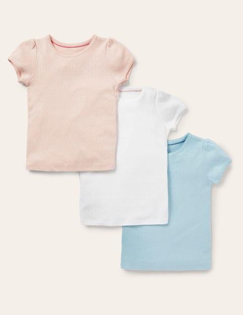 Kurzärmelige Pointelle-T-Shirts im 3er-Pack - Basics