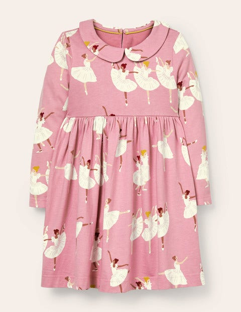 Jersey Collar Printed Dress