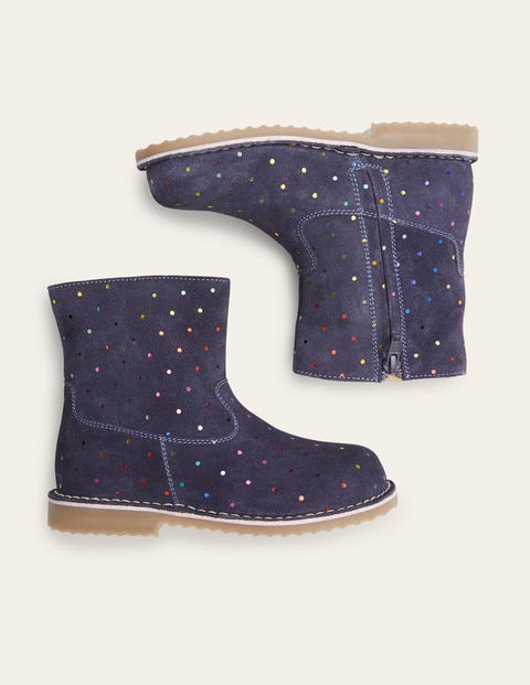 Cosy Short Leather Boots - College Navy Rainbow Spots