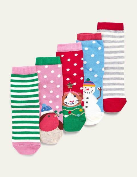 Christmas Socks 5 Pack - Multi Festive