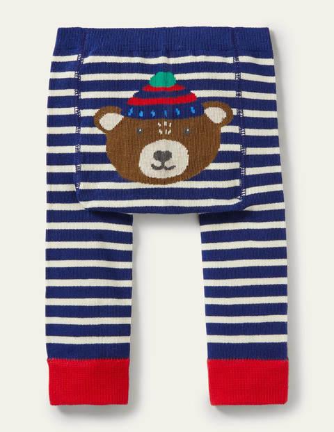 Knitted Leggings - College Navy Bear