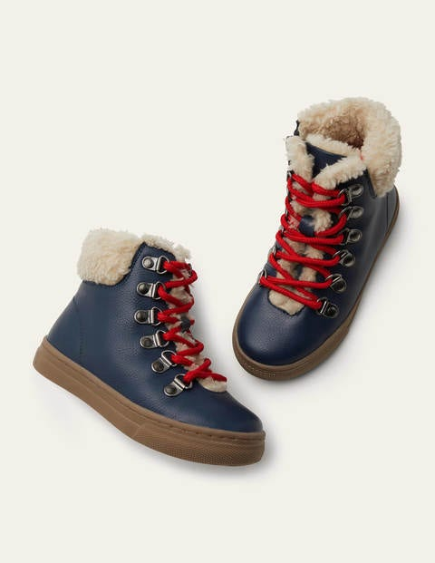 Cosy Leather Lace Up Boots - Navy