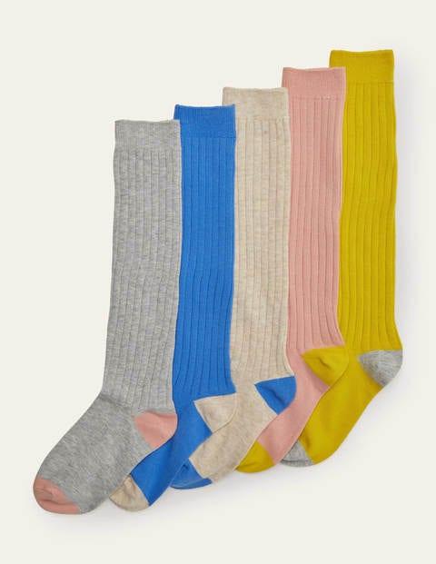 Ribbed Knee High Socks 5 Pack - Multi