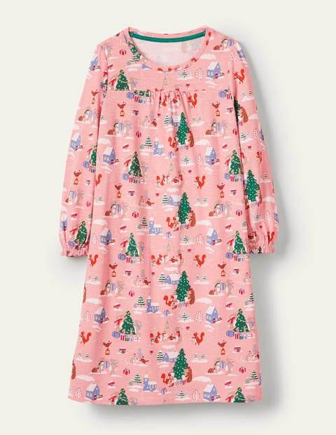 Printed Long-sleeved Nightgown - Boto Pink Woodland Christmas