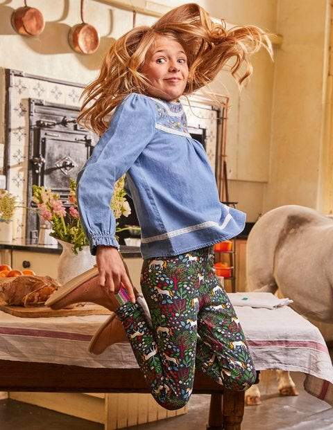 Fun Leggings - Stormy Blue Unicorn Tapestry