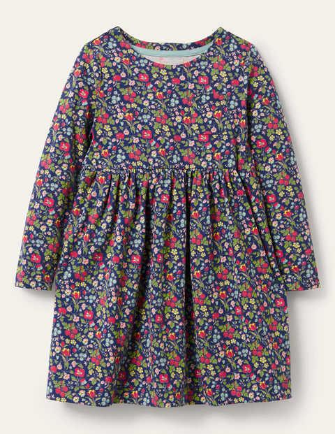 Long Sleeve Fun Jersey Dress - Starboard Autumn Berry Floral