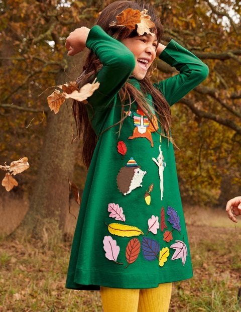 Big Appliqué Jersey Dress - Forest Green Animals