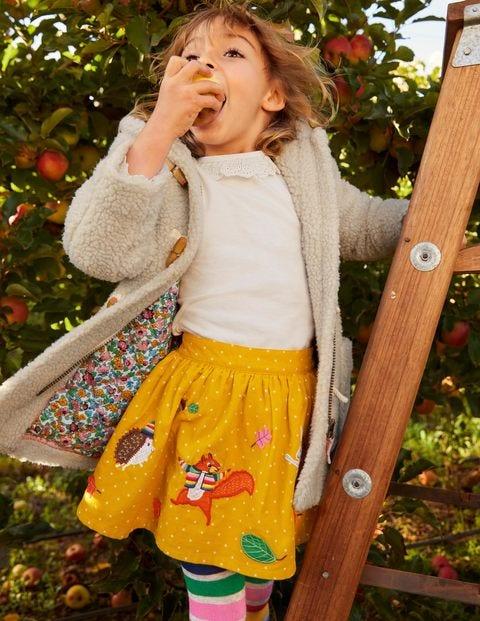 Cord Appliqué Skirt - Honeycomb Yellow Animals