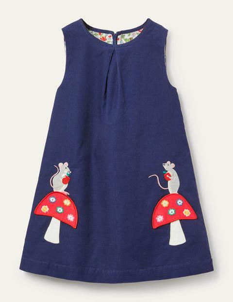 Cord Appliqué Pinafore Dress