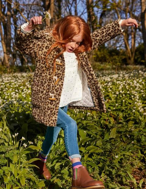 Cosy Borg Duffle Coat - Leopard Print