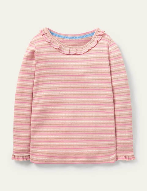 Sparkly Ruffle Pointelle Top - Provence Pink/ Gold